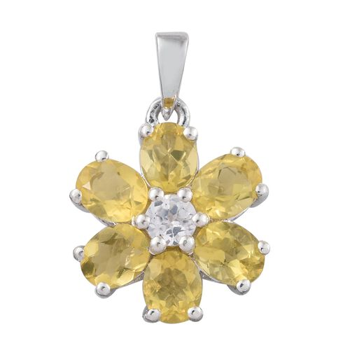 Natural Canary Opal (Ovl), Natural Cambodian Zircon Floral Pendant in Platinum Overlay Sterling Silver 1.750 Ct.