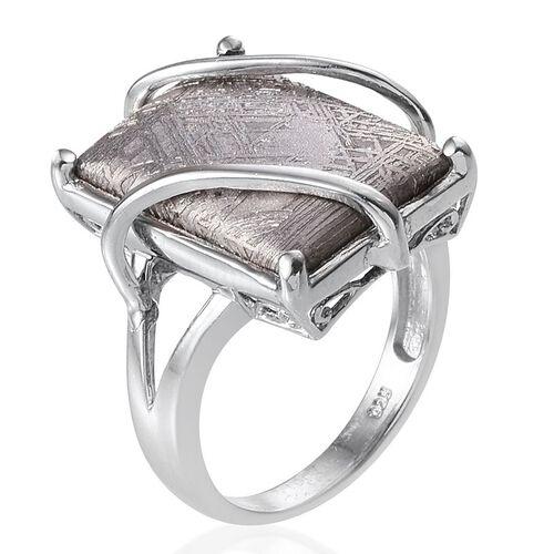 Meteorite (Bgt) Ring in Platinum Overlay Sterling Silver 18.500 Ct.