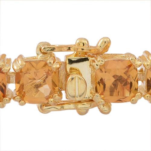 Uruguay  Citrine (Cush) Tennis Bracelet (Size 7.5) in 14K Gold Overlay Sterling Silver 25.000 Ct.