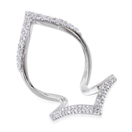 Diamond (Rnd) Chevron Ring in Platinum Overlay Sterling Silver 0.330 Ct.