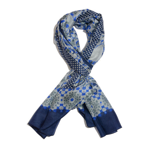 100% Mulberry Silk Grey, Blue and Multi Colour Paisley Pattern Scarf (Size 180x100 Cm)