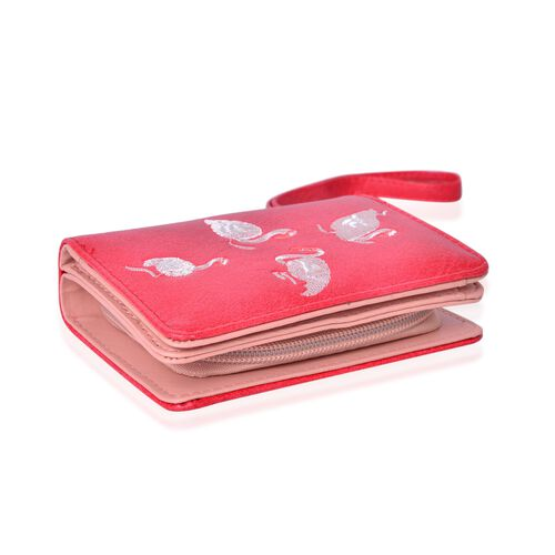 Swan Embroidered Red Bi-Fold Wallet (Size 11.7x8.5x3 Cm)