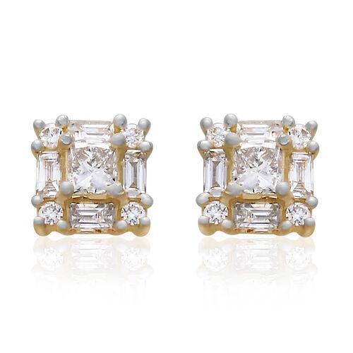 ILIANA 18K Yellow Gold IGI Certified Diamond (Princess Cut) (SI/G-H) Earrings (with Screw Back) 1.000 Ct.