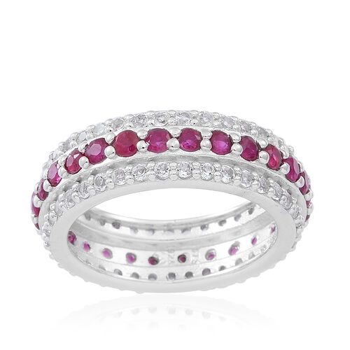 Burmese Ruby (Rnd), White Topaz Full Eternity Ring in Rhodium Plated Sterling Silver 2.500 Ct.