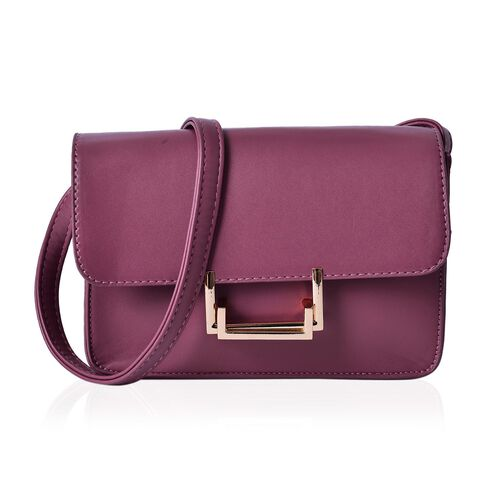 Purple Colour Crossbody Bag With Shoulder Strap (Size 20.5x15x6 Cm)