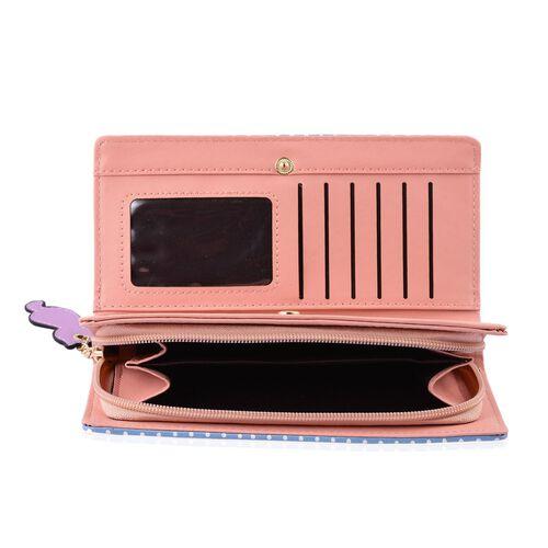 Blue and Purple Colour Cat Design Ladies Wallet with Cat Charm (Size 19X9X3 Cm)