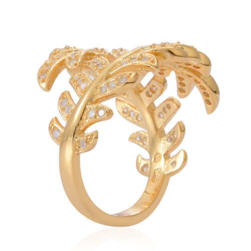 ELANZA AAA Simulated White Diamond (Rnd) Leaves Crossover Ring in 14K Gold Overlay Sterling Silver