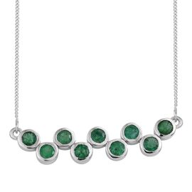 Kagem Zambian Emerald (Rnd) Necklace (Size 18) in Platinum Overlay Sterling Silver 1.500 Ct.