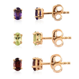 Set of 3 - Mozambique Garnet, Hebei Peridot and Amethyst Stud Earrings (with Push Back) in 14K Gold Overlay Sterling Silver 1.250 Ct.