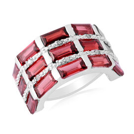 Mozambique Garnet (Bgt), Diamond Ring in Sterling Silver 8.380 Ct.