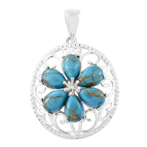 Mohave Blue Turquoise (Pear) Floral Pendant in Sterling Silver 2.500 Ct.