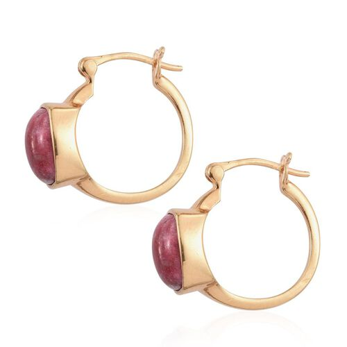 Norwegian Thulite (Cush) Hoop Earrings in 14K Gold Overlay Sterling Silver 7.000 Ct.