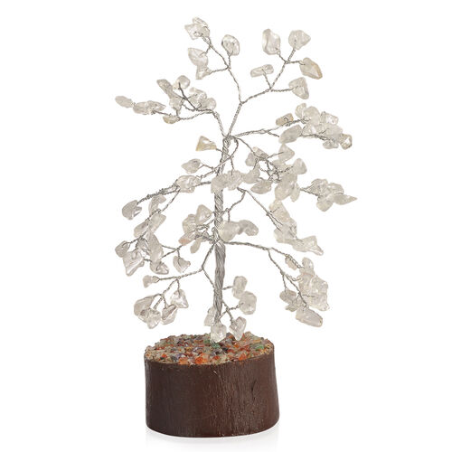 Home Decor - White Austrian Crystal Leaves GemStone Tree (Stone wt Approx 50 to 55 Ct.) (Size 18x6 Cm)