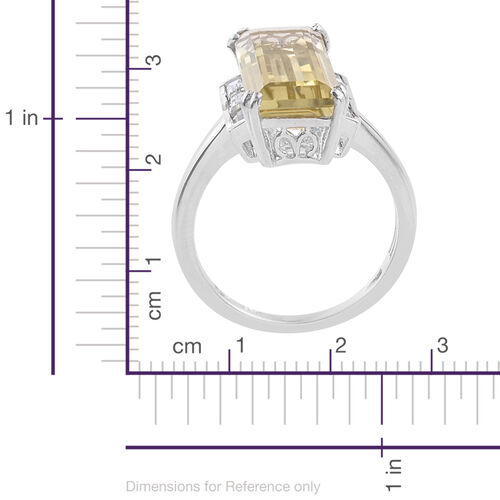 Natural Green Gold Quartz (Bgt 8.40 Ct), White Topaz Ring in Platinum Overlay Sterling Silver 9.250 Ct.