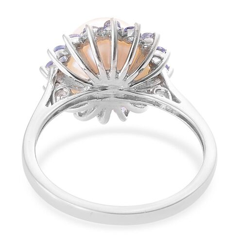 White Pearl, Tanzanite Floral Halo Ring in Platinum Overlay Sterling Silver
