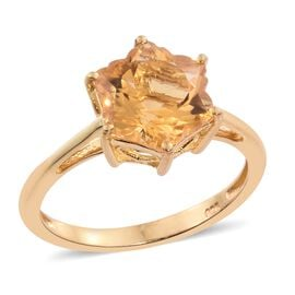 STELLARIS CUT Citrine Ring in 14K Gold Overlay Sterling Silver 3.750 Ct.