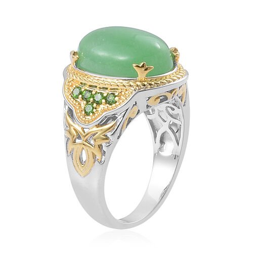 Green Jade (Ovl 12.00 Ct), Russian Diopside Ring in Platinum and Yellow Gold Overlay Sterling Silver 12.250 Ct.