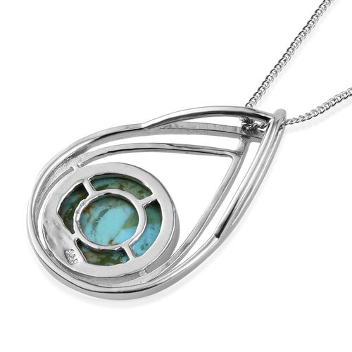 Arizona Matrix Turquoise (Rnd) Solitaire Pendant With Chain in Platinum Overlay Sterling Silver 4.250 Ct.