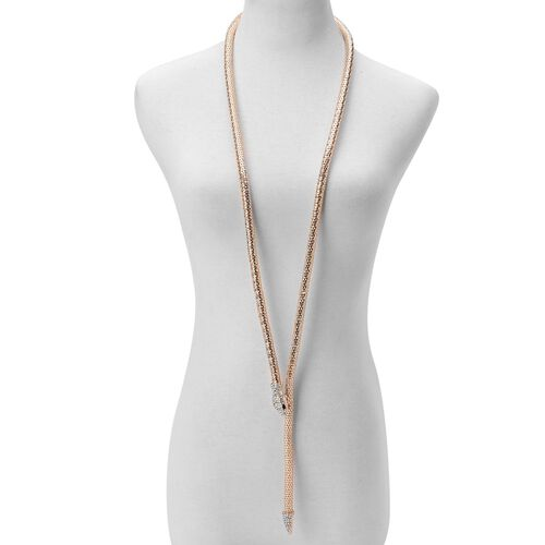 AAA White Austrian Crystal Snake Necklace (Size 46) in Yellow Gold Tone