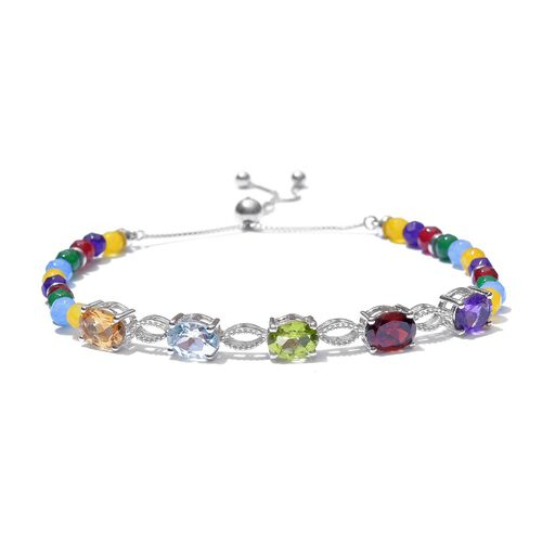 Super Auction - New Concept Mozambique Garnet (Ovl), Amethyst, Hebei Peridot, Sky Blue Topaz and Citrine Adjustable Bracelet (Size 6.5-8.0) in Platinum Overlay Sterling Silver 15.000 Ct.