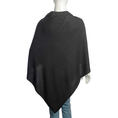 Limited Available - 100% Very Rare Pashmina Wool Designer Inspired Poncho in Black Colour (Free Size)
