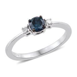 9K White Gold 0.45 Ct Blue Diamond, White Diamond Ring