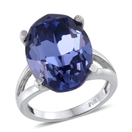 Karis Swarovski Crystal Tanzanite (10.25 Ct) Brass Ring  10.250  Ct.