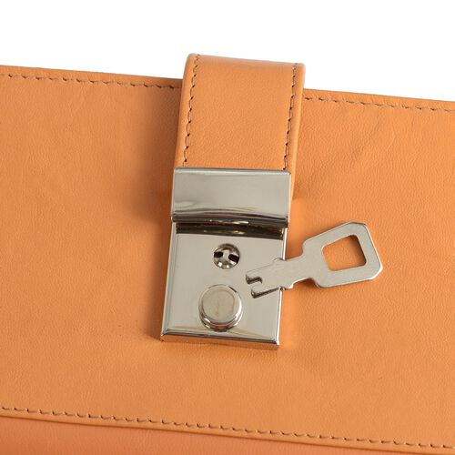 100% Genuine Leather Dark Orange Colour RFID Blocker Women Wallet (Size 20x10 Cm)