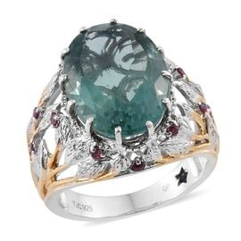 GP Mint Green Fluorite (Ovl 10.50 Ct), Rhodolite Garnet and Kanchanaburi Blue Sapphire Ring in Yellow Gold and Platinum Overlay Sterling Silver 11.030 Ct. Silver wt 8.00 Gms.
