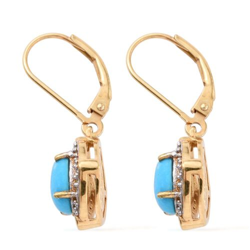 Arizona Sleeping Beauty Turquoise (Ovl), Natural Cambodian Zircon Lever Back Earrings in 14K Gold Overlay Sterling Silver 2.250 Ct.