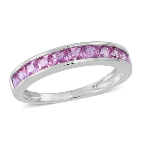 9K White Gold Pink Sapphire (Sqr) Half Eternity Band Ring 1.250 Ct.