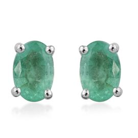 14K White Gold 0.90 Carat Boyaca Colombian Emerald Solitaire Stud Earrings with Push Back
