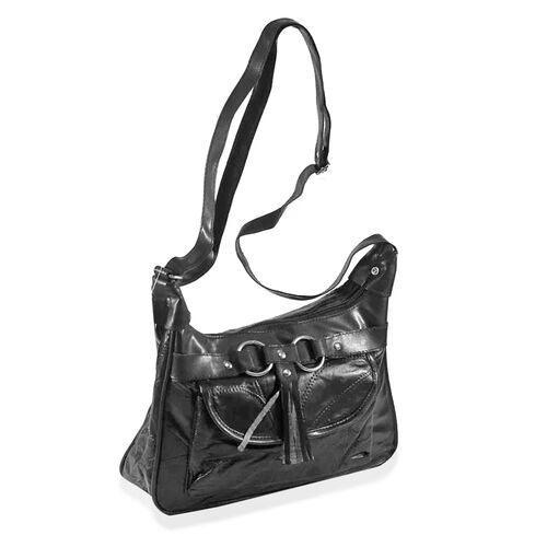 Close out Deal Dark Chocolate Leather Patchwork Shoulder / Cross body Bag (Size 27x23x8cm)