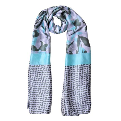 Designer Inspired - Turquoise and Purple Colour Flowers, Leaves and Dots Pattern Scarf (Size 180X90 Cm)