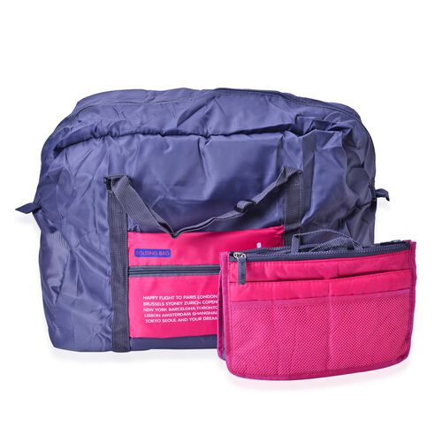 Set of 2 - Blue and Pink Colour Foldable Travel Waterproof Bag and Storage Bag (Size 42x35x17 Cm and 26.5x16x9.5 Cm)