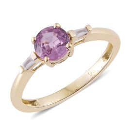 9K Rose Gold 1 Carat AA Pink Sapphire Ring with Diamond (I3/G-H)