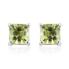 Hebei Peridot (Asscher Cut) Stud Earrings (with Push Back) in Platinum Overlay Sterling Silver 1.250 Ct.