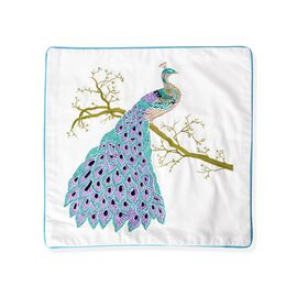 DOD - 100% Cotton White, Blue and Multi Colour Peacock Embroidered Cushion Cover (Size 45x45 Cm)