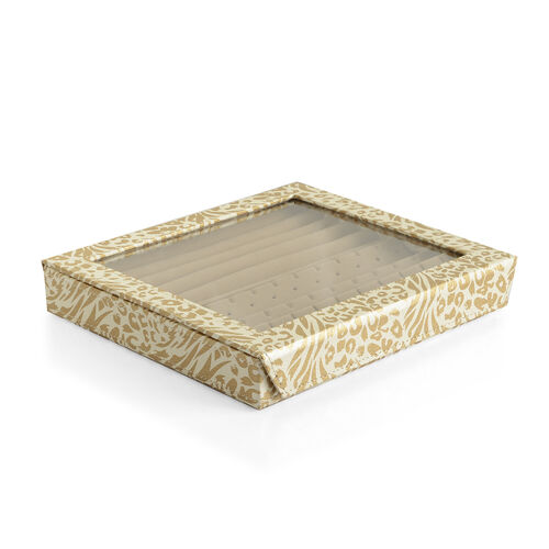 Hand Crafted - Eco Leatherette Tiger and Leopard Pattern Cream and Golden Colour Ring and Earrings Storage Box (Size 24x22x4 Cm)