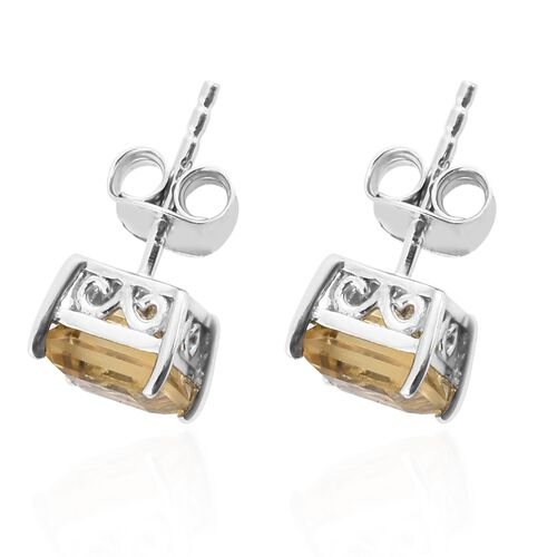 Citrine Stud Earrings (with Push Back) in Platinum Plated Silver 2 Carat