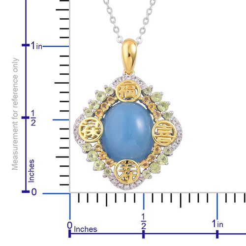 Blue Jade (Ovl 6.00 Ct), Hebei Peridot, Citrine and White Topaz Pendant With Chain in Platinum and Yellow Gold Overlay Sterling Silver 6.650 Ct.