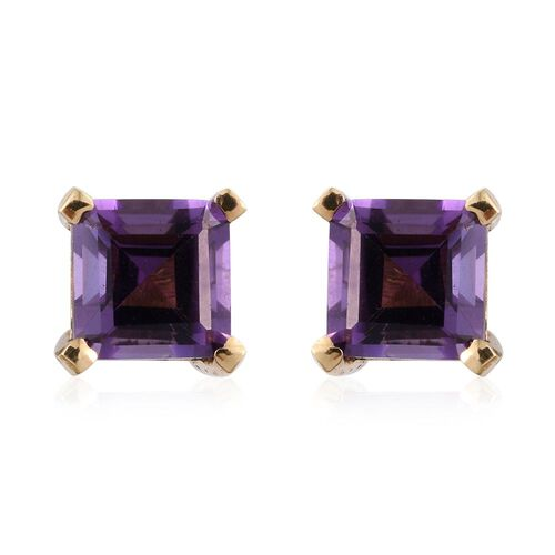 Octagon Amethyst 1.05 Ct Silver Stud Earrings in Gold Overlay