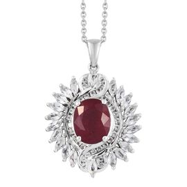 African Ruby (Ovl 5.20 Ct), White Topaz Pendant with Chain in Platinum Overlay Sterling Silver 8.000 Ct. Silver wt 7.15 Gms.