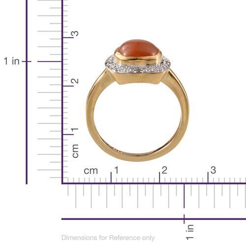 Mitiyagoda Peach Moonstone (Cush 2.50 Ct), Diamond Ring in 14K Gold Overlay Sterling Silver 2.520 Ct.