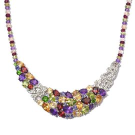 GP Citrine (Ovl), Hebei Peridot, Mozambique Garnet, Amethyst and Multi Gem Stone Necklace (Size 18) in Platinum Overlay Sterling Silver Total Gem Wt. 65.00 Ct Silver wt 11.61 Gms.