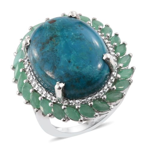 Natural Rare Opalina (Ovl 13.75 Ct), Brazilian Emerald Ring in Platinum Overlay Sterling Silver 14.900 Ct.