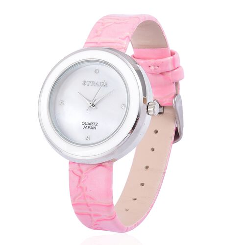 STRADA Japanese Movement White Austrian Crystal Studded MOP Dial Water Resistant Watch in Silver Tone with Pink Colour Strap