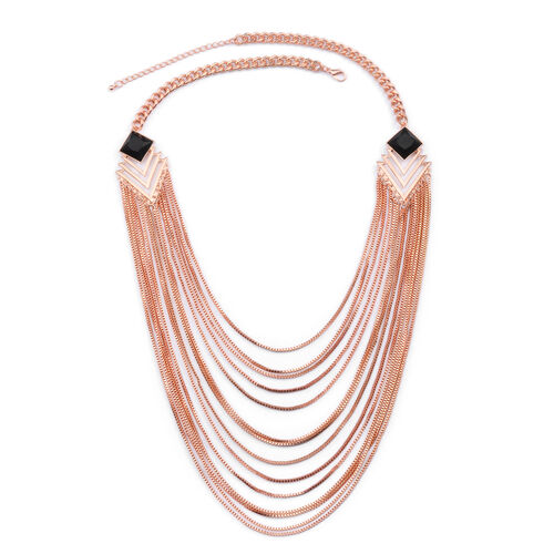 Multi Strand Necklace (Size 25 with Extender) in Rose Gold Tone with Simulated Stone