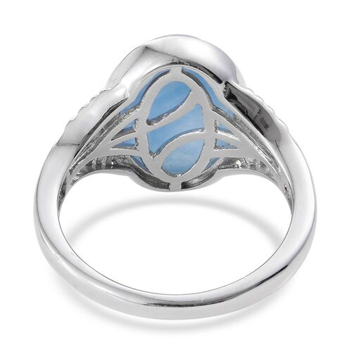 Blue Jade (Ovl) Solitaire Ring in Platinum Overlay Sterling Silver 7.000 Ct.