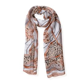 100% Mulberry Silk Brown, Yellow and Multi Colour Rose Flower and Leopard Pattern Scarf (Size 170x53 Cm) (Weight 40 Gms)